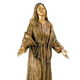Serafinum Maria Mutter Gottes Skulptur aus Bronze – Flehende Madonna / Braun