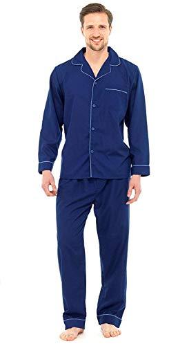 Herren Schlafanzug - Klassisches Design - Hemd & Hose - Einfarbig Dunkelblau - XXL