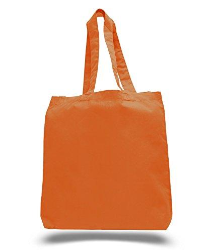 (3Pack) Set of 3Hochwertigen Baumwolle Tote, Wholesale mit Boden Zwickel Orange (Tote Bag Großhandel)