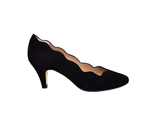 Gennia ISCOBA - Damen Pumps Schuhe + Kitten Absatz 6 cm + Spitze Spitz + Wellen Schnitt in der Mulde des Schuhs, Veloursleder Schwarz, Grosse 39