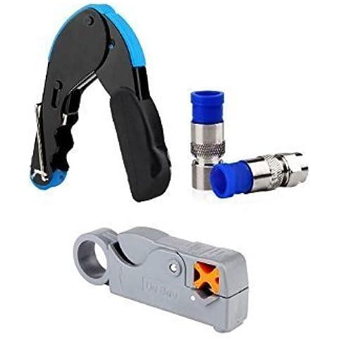 Para la compresión del cable de herramientas para conectores de montaje RG6 Stripper Con 20x conectores F de compresión
