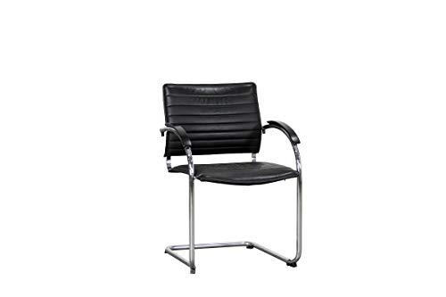 """Thonet Freischwinger Konferenzstuhl Besucherstuhl Empfangsstuhl Designmöbel Modell\""""S73\"""" In Leder Schwarz, Geprüft Und Gebraucht, 83x58x62,5cm (Zertifiziert und Generalüberholt)"""