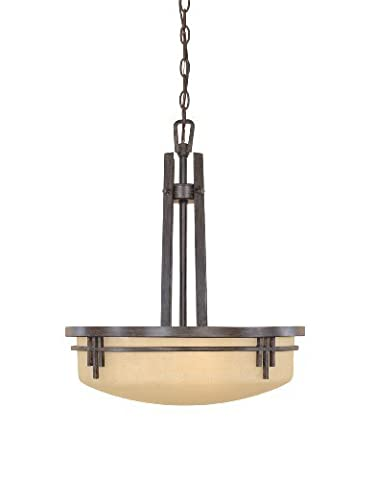 Designers Fountain 82131-WM Mission Ridge Collection 3-Light Pendant, Warm Mahogany Finish with Navajo Dust Glass by Designers Fountain