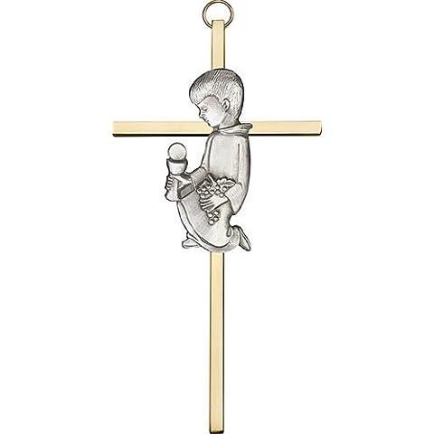 Icecarats Designer Di Gioielli Di 6 Pollici Argento Antico Comunione Ragazzo Su Una Croce Di Ottone 6 X 3 Pollici