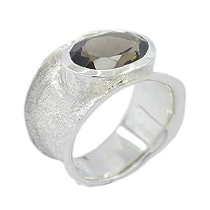 riyo Schmuck 925er Sterlingsilber eleganter natürlicher brauner Ring, Rauchquarz brauner Steinsilberring