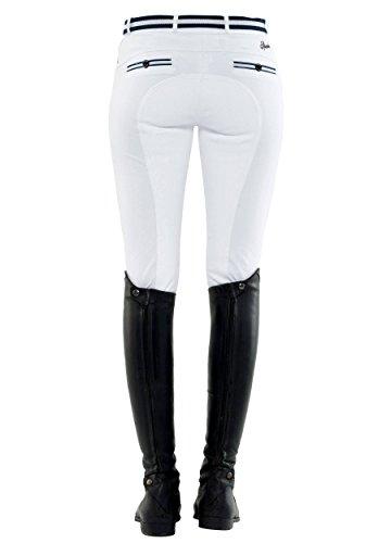 SPOOKS Reithose für Damen Mädchen Kinder, Voll-Besatz Reithosen Leggings Turnierreithose - bequem & Stylisch Ricarda Full - Weiß XS
