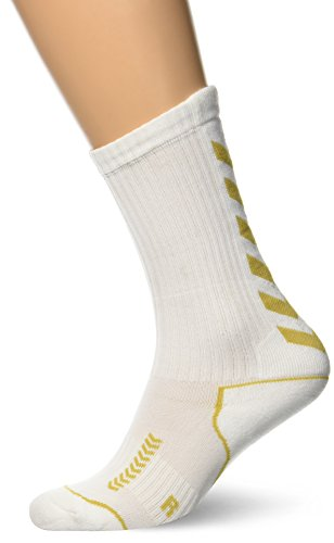 Gold-kinder Socken (hummel Kinder Socken Advanced long Indoor, white/gold, 32 - 35 ( 8 ), 21-059-9018_9018)
