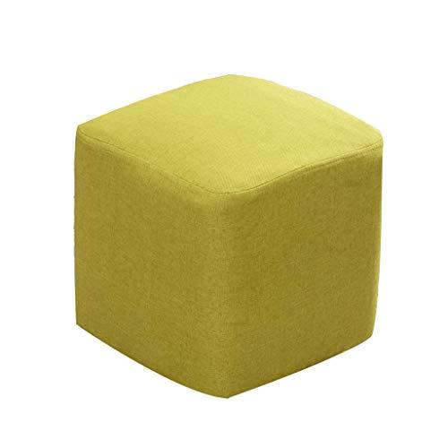 SUP-MANg Sofa Hocker Quadrat Holzstütze Gepolsterter Hocker Stoffbezug 4 Beine Und Abnehmbarer Leinenbezug (4 Farben) (Color : B) -