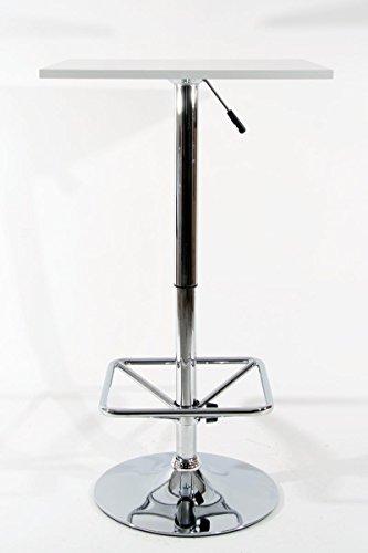 """Bistro-Tisch, weiß, quadratische Fußstütze, quadratische Holzplatte, höhenverstellbar 84-104 cm -\""""Stuttgart\"""""""