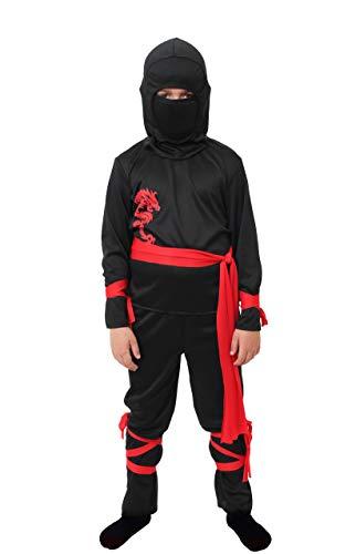 ILOVEFANCYDRESS Kinder Power Ninja KÄMPFER KOSTÜM VERKLEIDUNG =BEINHALTET-Oberteil-Hose-Kaputze-ROTE BEFESTIGTE BÄNDER/GÜRTEL=Halloween Fasching Karneval ()
