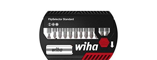 """Wiha Bit Set FlipSelector Standard 25 mm Schlitz, Phillips, Pozidriv 13-tlg. 1/4"""" (39029), Bithalter, Set, Öffnen per Knopfdruck, schneller Bitwechsel, passt in die Hosentasche"""