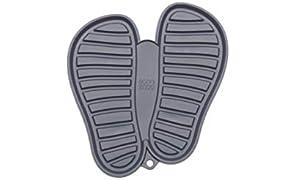 Sanni Shoo, shoo.pad, flexible, waschmaschinen-feste Schuh-Abtropf-Matte, Schuhablage, Schuhabtropfschale, Abtropf- und Schmutzfang-Matte für Schuhe M (bis Schuhgrösse 41) grau