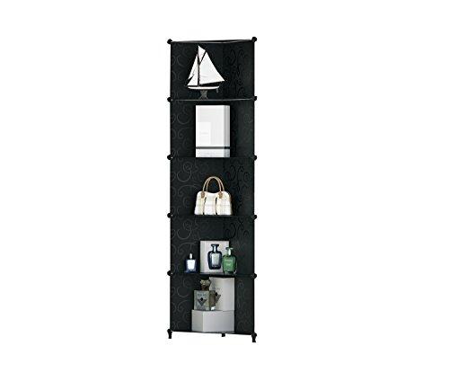 Diy guardaroba di plastica portatile nero riccio patterned armadio storage progettare il proprio (5 tier)