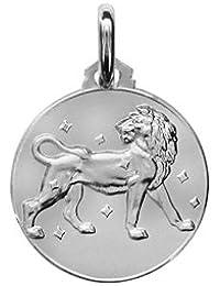1001 Bijoux - Médaille argent rhodié zodiaque lion