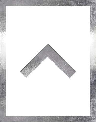 RahmenMax Morena Holz Werkstoff Bilderrahmen 50 x 70 cm modernes sehr eckiges Profil 70 x 50 cm Grosse Farbauswahl jetzt: Silberglanz Vintage mit Kunstglas klar 1 mm