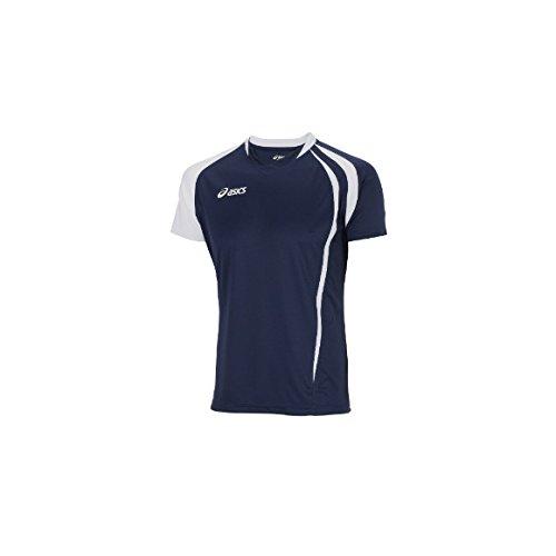 ASICS T-shirt maglia maniche corte pallavolo uomo FAN bianco blu royal T750Z1, Taglia: 4XL