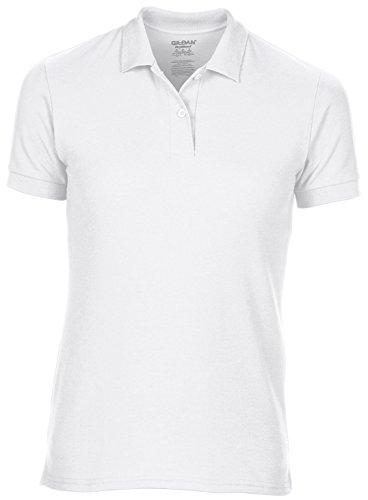 Womens Dryblend Double Polo piqué Par Gildan 13 couleurs au choix Blanc - Blanc