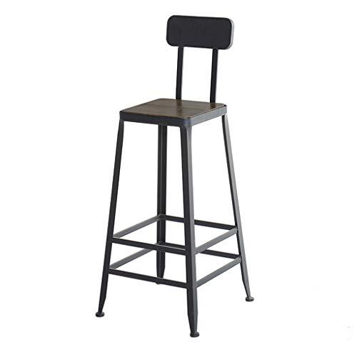 Barhocker mit Gegenhöhe für den Innen- und Außenbereich Holzplatte Rückenfrei/Niedrige Rückenlehne, Industrielle Metallbarhocker Holz Sitzhöhe 29,5 Zoll -