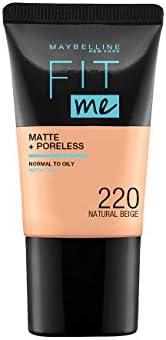 Maybelline New York Fit Me Matte & Poreless Mini, 220 Natural Beige, 1