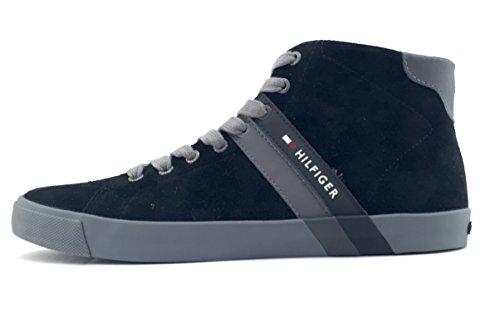 Tommy Hilfiger Volley 6B scarpa uomo stringata sneaker alta in camoscio nero (40)