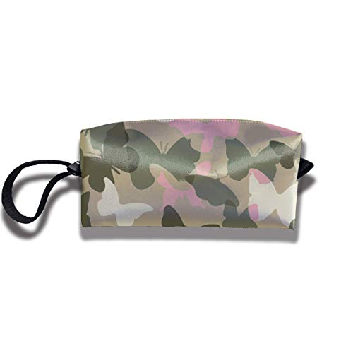 Clutch Makeup Bag - Pink Butterfly Camo Toiletry Case Storage Bag with Hanging ()