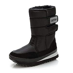 PAMRAY Schneestiefel Herren Damen Sports Stiefel Warme Winter Hoch Schuhe rutschfest Winddicht Schlupfstiefel Fell Gefüttert Boots Wasserdicht Plattform 5cm Schwarz EU36-47