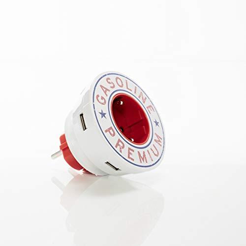 plugstar USB Ladegerät (Vintage Rot). Mehrfachsteckdose, 3X USB, 1x USB Typ C, 1x Steckdose. Schnellladegerät mit Steckdosen-Adapter. Power Charge Mehrfachstecker