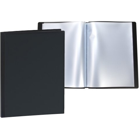 Rybond Display Book - Rigid Cover - Polypropylene - 40 Glass Clear Pockets - Personalisable With Sleeve Display - Black Test