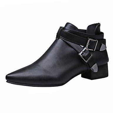 Rtry Femmes Chaussures Pu Automne Bottes De Mode Bottes Chunky Perlé Astuce À Lacets Pour Casual Noir Noir Us8 / Eu39 / Uk6 / Cn39 Us6 / Eu36 / Uk4 / Cn36
