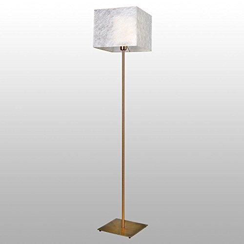 Bauhaus Stehlampe (in Creme, Höhe 155cm, gemustert, E27, eckiger Schirm) Stofflampe Küchenlampe Innenlampe Stehleuchte Standleuchte Standlampe