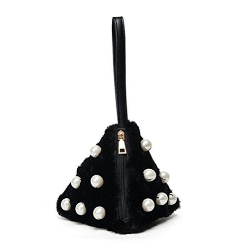 Koly_Cute Little Triangle perla catena piccola moneta Bag Plush mano Nero