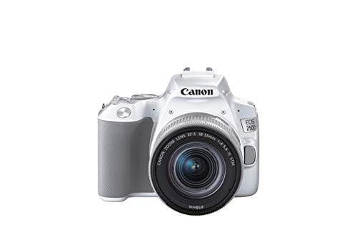 Canon EOS 250D Digitalkamera (24,1 Megapixel, 7,7 cm (3 Zoll) Vari-Angle Display, APS-C-Sensor, 4K, Full-HD, DIGIC 8, WLAN, Bluetooth), weiß, inkl. EF-S 18-55mm f/4-5.6 IS STM Objektiv silber