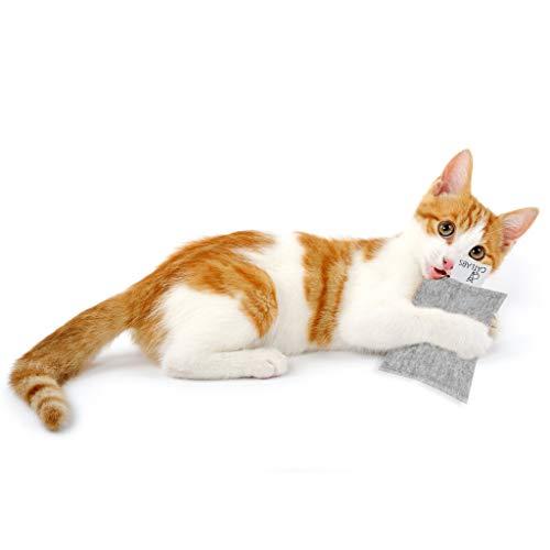 CATLABS Baldrian-Kissen Catty Ford – Premium-Katzen-Spielzeug mit Bio-Qualität Braun (Grau)