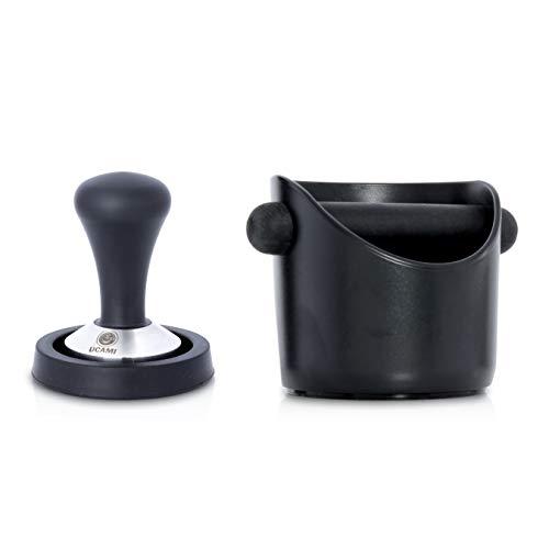 Ucami 51mm Kaffee-Tamper Set im Premium Design - Klassischer Kaffeemehlpresser / Espresso Stempel aus Edelstahl mit Matte & Abklopfbehälter -