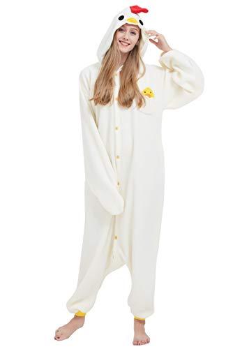 Kigurumi pigiama anime cosplay halloween costume attrezzatura adulto animale onesie unisex, pollo per altezze da 140 a 187 cm