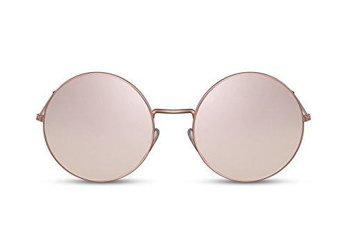 Cheapass Sonnenbrille Rund-e Gold Silber UV-400 Verlaufsglas Fashion Metall Damen Frauen