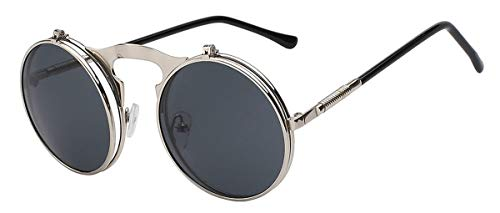 Sonnenbrillen Flip Up Steampunk Sunglasses Men Round Vintage Mens Sunglass Brand Designer Fashion Glasses UV400 Silver w black lens