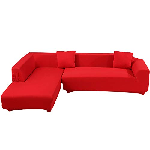 ele ELEOPTION Sofa Überwürfe elastische Stretch Sofa Bezug 2er Set 3 Sitzer für L Form Sofa inkl. 2 Stücke Kissenbezug (Rot)