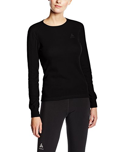 Odlo Damen Funktionsunterwäsche Langarm Crew Neck Warm, Black, S, 152021