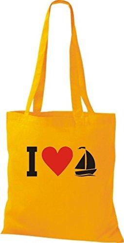 JUTA Borsa di stoffa I LOVE barca a vela, CAPITANO giallo dorato