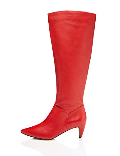 FIND Leather Botas Slouch, Rojo Red, 38 EU