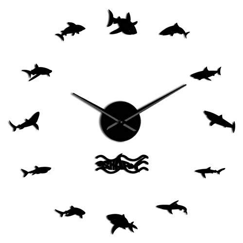 Hyllbb Ocean Sharks Wandkunst DIY Wandaufkleber Riesen Wanduhr Nautisches Dekor Weißer Hai Rahmenlose Kind Schlafzimmer Große Wanduhr, 47 Zoll