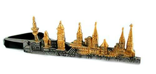 Unbekannt Hamburger Krawattennadel Krawattenklammer Skyline Hansestadt Hamburg blackplated vergoldet matt-glänzend m.i. Germany + brauner Exklusivbox