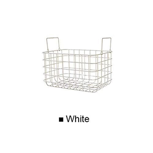 LY/WEY Metal Storage Baskets Fruit Bread Basket Clothes Cosmetics Storage Basket Desktop Bathroom Kitchen Iron Storage Organizer,B