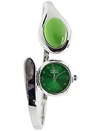 1530b3c551e Softech Ladies Bracelet Bangle Watch With Green Color Stone On Face With  One Extra Battery