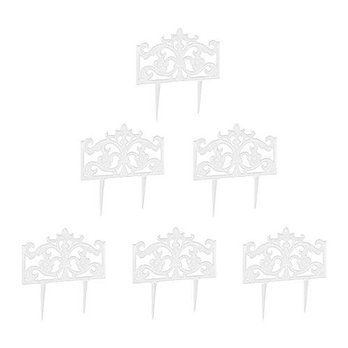 Relaxdays 6er Set Beetzaun Gusseisen, mit Erdspieß, Einfaches Stecksystem, Zierzaun, nostalgisch, H x B x T: 37 x 36 x 2 cm, Weiß