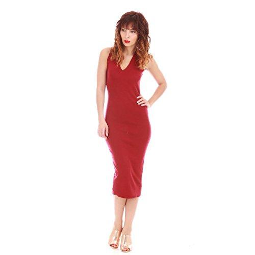 La Modeuse - Robemi-longuemoulante à maille fine sans manches Rouge