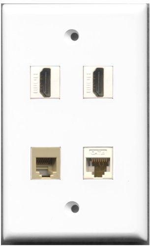 RiteAV-2Port HDMI 1Port Telefon RJ11RJ12beige 1Port Cat6Ethernet weiß Wall Plate 4 Port, Single Gang Keystone
