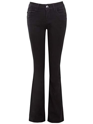 SS7 Frauen Schwarze, eng geschnittene Flare-Jeans mit niedriger Taille -