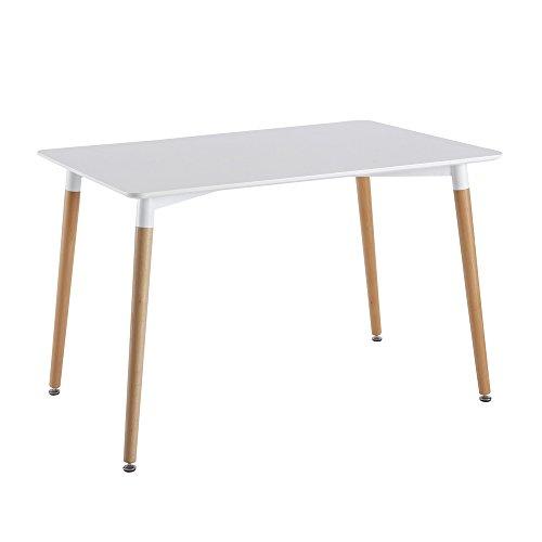 THE HOME DECO FACTORY HD3211 Table Blanche RECTANGULAIRE Bois/Métal/PP, Blanc, 115,1x75,2x76 cm